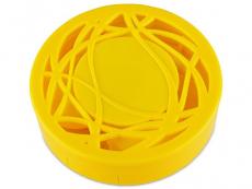 Кутийка за лещи с огледалце - жълта с орнаменти