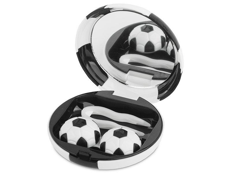 Кутийка за лещи с огледалце Football - черна