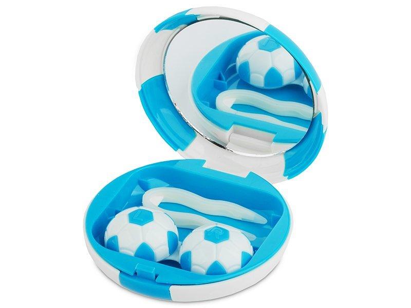 Кутийка за лещи с огледалце Football - синя