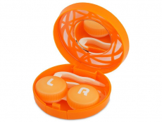 Кутийка за лещи с огледалце- оранжева с орнамент