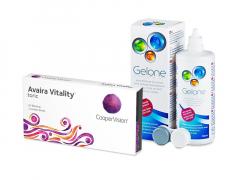 Avaira Vitality Toric (3 лещи) + разтвор Gelone 360 ml