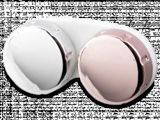 Розово-сребърен контейнер за лещи с огледален завършек