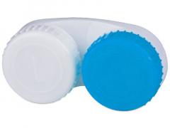 Синьо-бял контейнер за контактни лещи с маркировка L+R