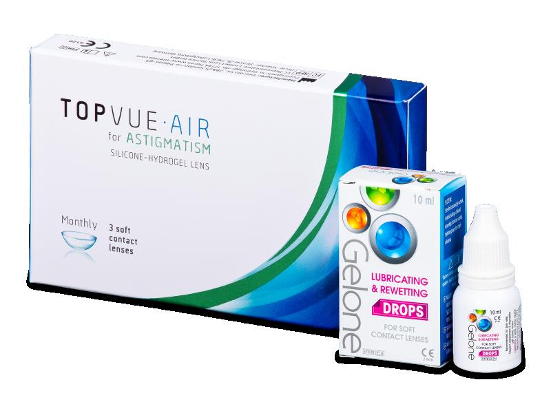 TopVue Air for Astigmatism (3 лещи) + капки за очи Gelone