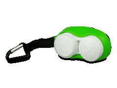 Контейнер за лещи с карабинер - зелен