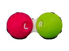 Контейнер за контактни лещи - розово зелен